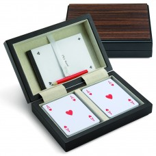Caixa de madeira c/ Baralhos de Cartas Refª JU00208